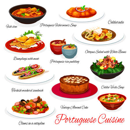 Portuguese cuisine seafood, fish and vegetable vector dishes with dessert. Cod soup, clam sausage stew, mackerel sandwich, octopus salad and meat dumplings, caldo verde soup, almond cake, rice pudding Ilustração