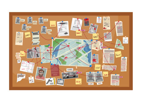 Crime board of police detective investigation cartoon vector. Evidences and map of murder investigation, wall board with pictures, pins, paper notes and photos, newspaper clipping and red strings