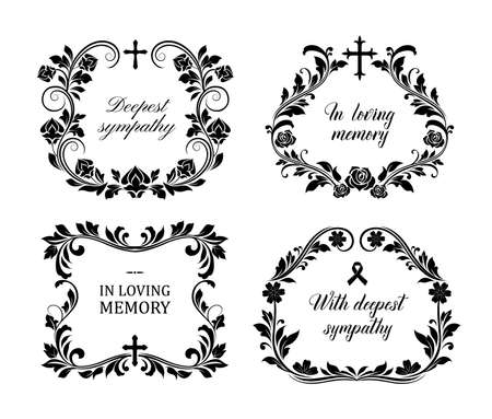 Funeral frames, vector vintage obituary floral wreaths with condolence typography, flourishes and cross. Retro cards, obsequial memorials, funeral sorrowful borders or necrology monochrome templates