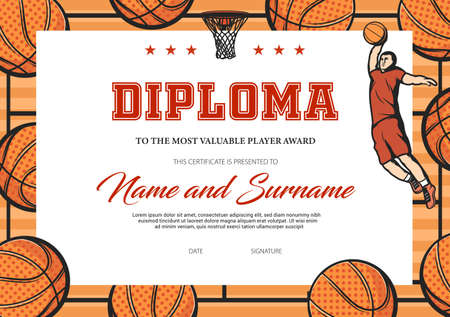 Certificate for basketball most valuable player. Sports club award diploma vector template. Border design with balls, basket and jumping player in uniform. Sport achievement or participation frame Vektoros illusztráció