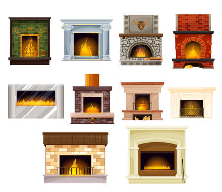 Home fireplaces with fire cartoon vector set of interior design. Wood burning, electric, gas and coal powered stoves with brick, stone, steel and glass chimneys, grates and mantelpieces, rakes and log