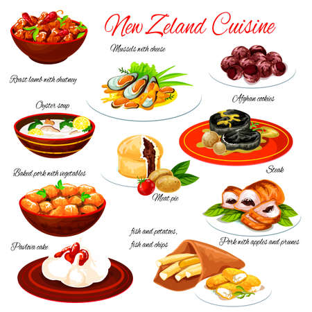 New Zealand seafood and meat food with vegetables. Vector lamb chutney, fish and chips, meat pie and pavlova cake, beef steak, pork stew and baked mussels with cheese, oyster soup and chocolate cookie Vektorgrafik