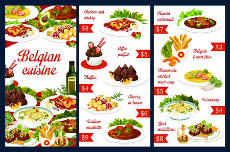 Belgian cuisine food menu dishes, Belgium restaurant meals, vector meat soups and pastry sweets. Belgian traditional cuisine food chicken with cherry, coffee parfait and truffles, fries and watersay