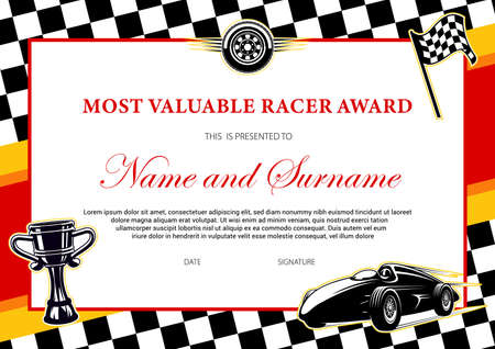 Car racing winner certificate or diploma award to racer, vector template with finish flag frame. Rally sport championship cup victory award diploma or tournament certificate with wheels and sport car