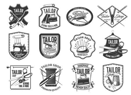 Tailor shop and seamstress service retro icons set. Handmade clothing atelier, dressmaker workshop and tailor tools store emblems. Needle, scissors and pins, vintage sewing machine and iron vector