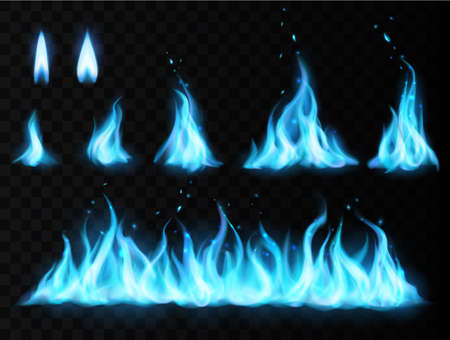 Blue fire flame vector set on transparent background. Realistic burning fire flames of gas, mystic energy or fireplace, glow of torch or candle, bonfire or campfire blaze with light flares and sparks