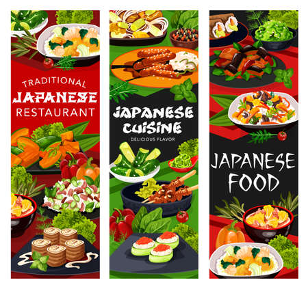 Japanese cuisine restaurant vector banners with Asian dishes of gunkan sushi, meat teriyaki and yakitori. Vegetable rice, udon noodles and salmon cabbage, miso eggplant, seaweed and cucumber salads