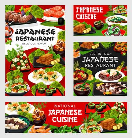 Japanese cuisine vector nicy jaga potatoes with meat, buckwheat soba noodles and salmon. Baked scad, green beans with scallops and eel salad udzaku with braised beef skiaki, Japan food posters set