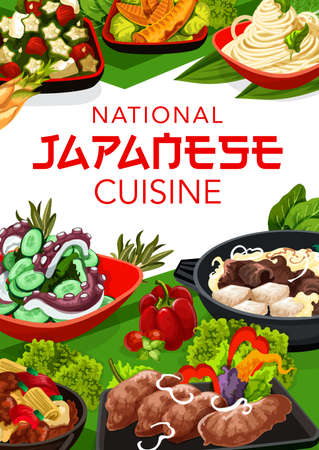Japanese cuisine vector bamboo shoots, braised beef skiak and, pork with ginger. Cucumber salad with wakame condiment, tofu with meat and gombo with tuna salad. Japan food, national meals poster