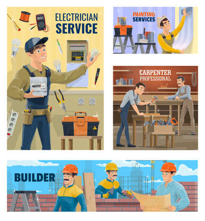 Electrician and painting service, builder and carpenter banner. Electrician installing energy meter, worker wallpapering room and carpenters working in workshop, builders on construction site vector