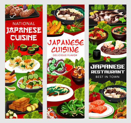 Japanese cuisine vector roasted green pepper, shrimp and cryptotein in batter. Chicken wings with burdock, cucumber salad with wakame condiment or fried marlin kadziki but karaag, Japan food banners