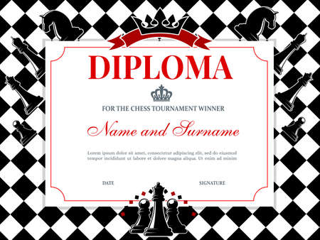 Chess tournament winner diploma template. Kids diploma or certificate for chess competition achievements or participation. Checkered chessboard, knight, queen and pawn figures, crown and ribbon vector Illusztráció