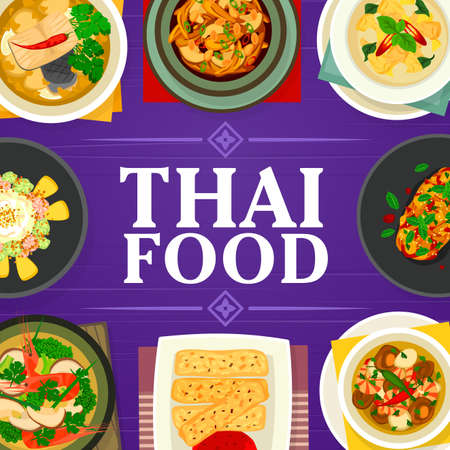 Thai food vector tom yum soup, fish ginger soup and cashew chicken gai pad med mamuang. Prawn vegetable soup, pineapple ice cream or eggplant salad with duck and green chicken curry, Thailand meals