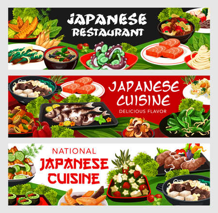 Japanese cuisine vector vegetable rolls, nicy jaga potatoes with meat and soba noodles. Bamboo shoots, lacered soup seasoned with bard, baked scad, cucumber salad, tofu with meat Japan food banners