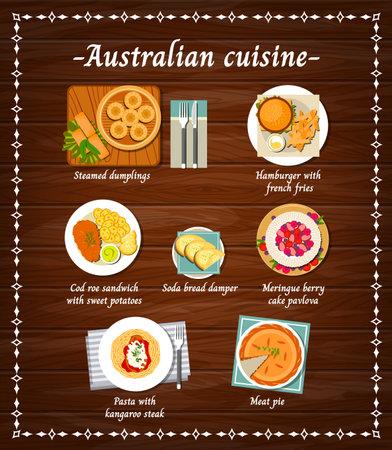 Australian cuisine food menu dishes, Australia restaurant meals, vector meat and pastry sweets. Australian traditional cuisine food dumplings, Pavlova cake, meat pie and pasta with kangaroo steak