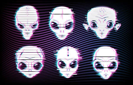 Alien faces or heads with digital glitch effects vector set of UFO and space design. Martian alien emojis of extraterrestrial monsters with big eyes and ears, neon emoticons of alien space