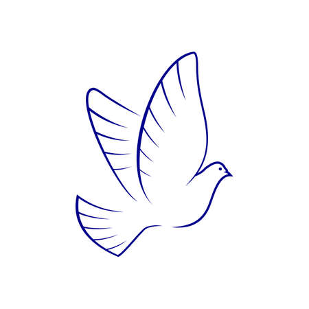 Dove symbol of piece and hope isolated bird. Vector flying pigeon silhouette, outstretched wings