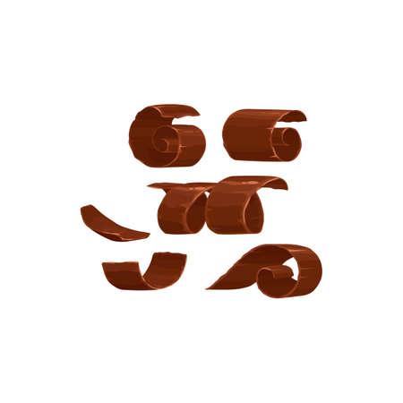 Chocolate shavings or piece curls of milk or dark chocolate, vector isolated icons. Chocolate shavings and spiral rolls, cocoa food and candy sweet dessert Ilustración de vector