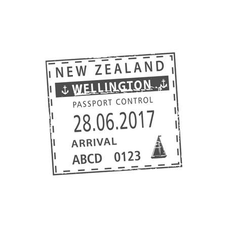 Wellington port visa stamp isolated. Vector passport control, arrival by sea to New Zealand