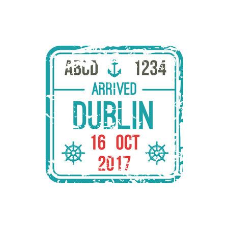 Dublin airport isolated visa stamp, DUB, Ireland. Vector arrival seal in passport, border control