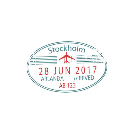 Arlanda airport border control stamp isolated Stockholm visa template. Vector arrived sign, arrival date