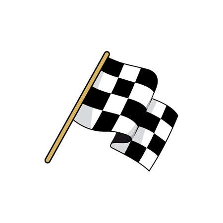 Checkered race flag flat vector illustration. Speed racing competition flag cartoon sticker. Motocross, carting championship symbol. Start, finish sign. Rally, grand prix isolated design element