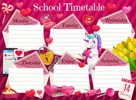 Valentines day school timetable, kids lessons schedule with hearts. Children week planner, romantic schedule with unicorn, tulips bouquet and key from heart lock, wedding ring and candy cartoon vector 일러스트