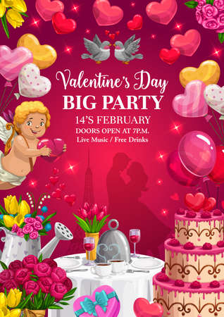 Cupid with Valentines Day hearts and gifts, party poster vector design. Loving couple with flower bouquets, chocolate cake and balloons, Amur angel with present box, ribbon, bow and wine glasses 일러스트
