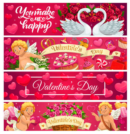 Valentines Day banners of love holiday gifts, hearts and Cupids. Vector rose flower bouquets, engagement and wedding rings, chocolate cakes, candies and balloons, swan birds and candles greeting cards 일러스트