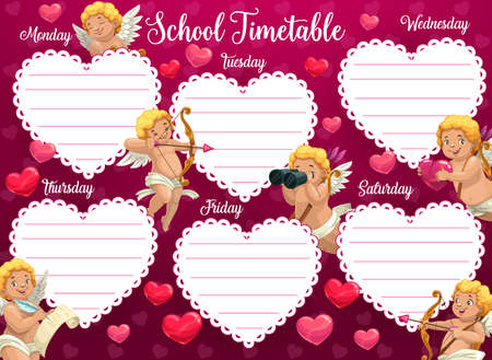 Valentines day school timetable with cherub cartoon character. Romantic schedule or planner, children lessons timetable. Cupid with bow, looking in binoculars and writing love letter cartoon vector
