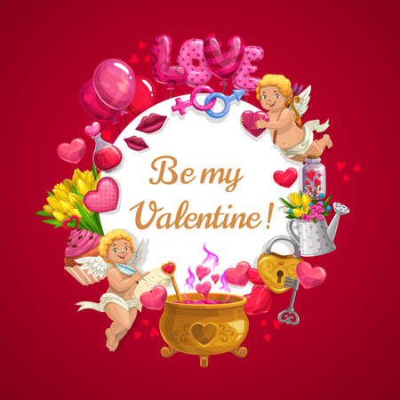 Valentine day heart balloons, flowers and cupid angels with magic love potion in golden cauldron. Be My Valentine love holiday pink cupcakes, kiss lips and roses with male and female symbols