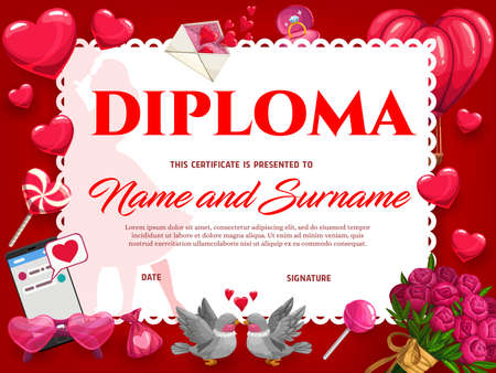Wedding celebration or Valentines day diploma. Romantic post card or holiday invitation, couple certificate or achievements diploma template. Hearts, flower bouquet and kissing doves cartoon vector 일러스트