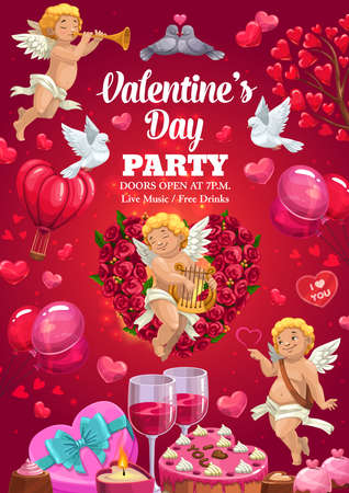 Valentine day party, vector poster with hearts balloons, cupid angels and roses flowers. 14 February Valentine day holiday party cakes, gift heart box and wine, kissing doves and pink cupcakes 일러스트