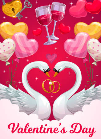 Valentines Day holiday vector greeting card with love hearts, wedding or engagement rings and balloons, loving couple of swan birds, wine glasses, key and padlock. Romantic holiday celebration design