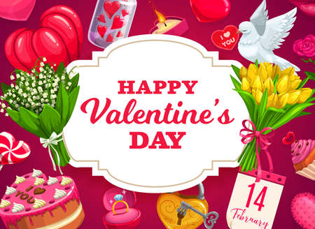Valentines Day gifts, hearts and flowers vector design. Love holiday presents, flower bouquets, chocolate cake and wedding or engagement ring, february calendar, candy, dove and candle greeting card 일러스트