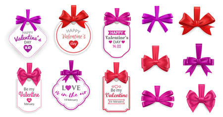 Valentines Day love holiday gift tags. Vector cards with hearts, red and pink bows of silk ribbons or tapes and wishes of Happy Valentines Day, romantic presents decoration and greeting cards design