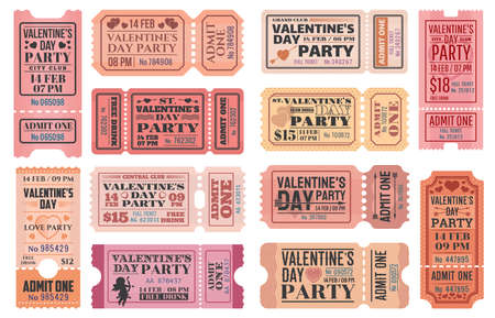 Valentines Day party ticket vector templates with love holiday Cupids, red hearts, arrows and bows. Romantic event admit one coupons, admission cards and invitation retro design