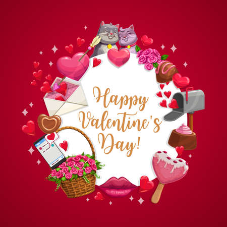 Valentine day wish, vector poster with kissing cats, hearts and arrow, chocolate candy and flowers in wicker basket. Happy Valentine day greeting sms message in phone, pink heart ice cream and lips