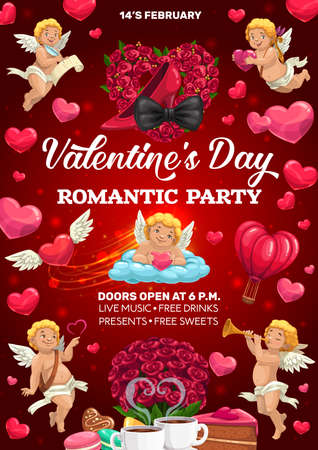 Valentines Day party vector poster with Cupids, hearts and love holiday gifts. Red rose flowers, chocolate cake and candies, Amur angels with bows and arrows, heart shaped ballon and floral wreath 일러스트