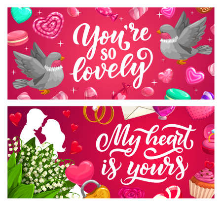 Valentines Day love holiday gifts vector banners. Hearts, couple in love and flowers, wedding and engagement rings, chocolate cake, candies, letter and padlock, rose and lily bouquets 일러스트
