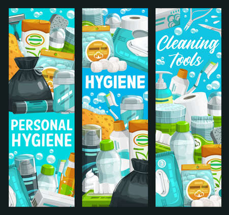 Hygiene, health and personal care, cleaning and bathing items, vector banner. Personal hygiene items, bathroom soap and cream, toothpaste and body shower gel, shampoo, shaving foam and toiletries