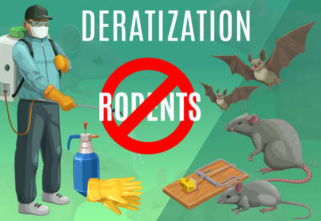 Deratization, rodent extermination service vector poster. Rats and bats pest control, domestic and office mice extermination, exterminator with press sprayer, mousetrap, sanitary deratization service