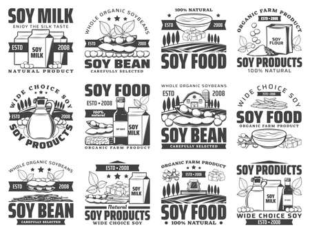 Natural soybean food products retro icons set. Soy milk box, sack of flour and oil bottle, sauce, tofu skin and cheese, tempeh piece engraved vector. Organic soy farm, vegetarian food shop emblems 向量圖像