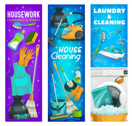 Housework or laundry tools, hygiene utensils for house cleaning. Vector washing machine, toilet brush and wash detergent, iron, broom with gloves and apron or sponge and trash sack cartoon banners set 向量圖像