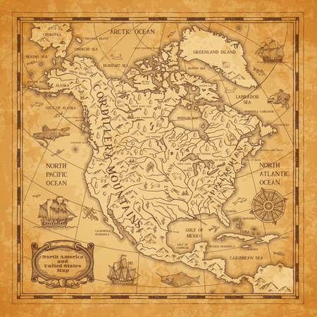 North America continent ancient map with mountain ranges, rivers and lakes names, mythological sea beasts, medieval caravel ship vector. United States of America territory map on aged, old paper 向量圖像