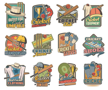 Cricket game vector icons, field and sports equipment and stadium. Cricket ball, bat and player uniform helmet, gloves and shoes with green lawn. Sport club and championship match retro emblems set