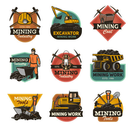 Coal mining industry isolated vector icons set Mine machinery and miner equipment tools. Metal ore, coal, excavator or digger and bulldozer, jackhammer and pickaxe, man in hardhat with wheelbarrow