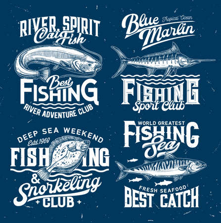 Fishing club icons, sport t-shirt print templates, fishes and sea water waves, vector blue mockups. Ocean snorkeling and fishing signs with marlin, flounder, mackerel and catfish for t shirt print