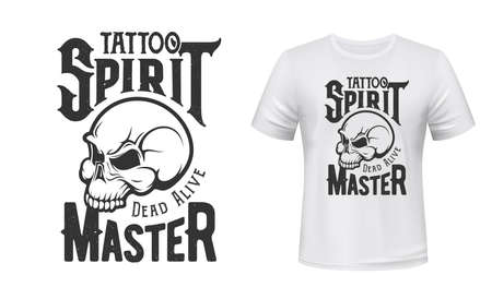 Tattoo master skull t-shirt print mockup, studio emblem, vector badge. Tattoo salon hipster, punk or rocker icon of skeleton school and slogan quote Dead or Alive for t shirt print 向量圖像