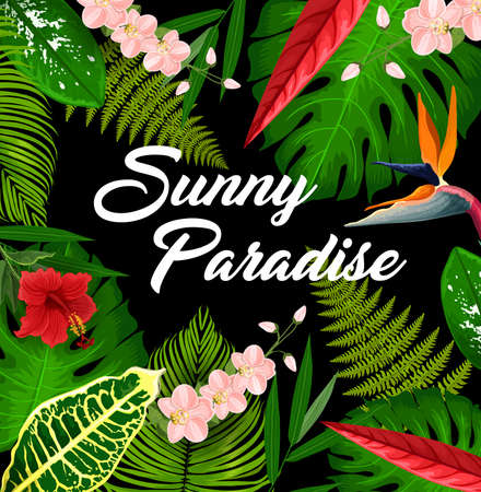 Tropical paradise poster with floral frame. Tropical resort flora, exotic country leisure and vacation travel invitation banner. Fern, palm and monstera leaves, strelitzia and orchid flowers vector